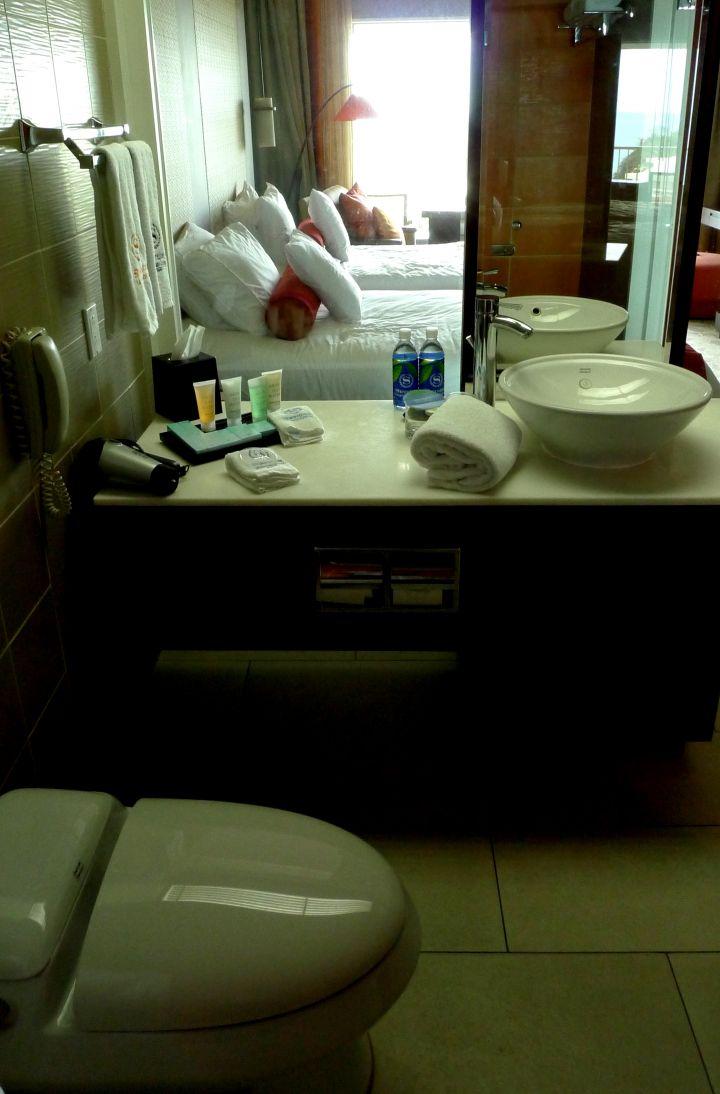 廁所與室外連成一線,可以邊上廁所看天空。