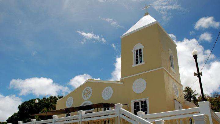 建於1939年外型黃白相間色彩鮮明的 San Dionisio 教堂守護著猶瑪特克村。