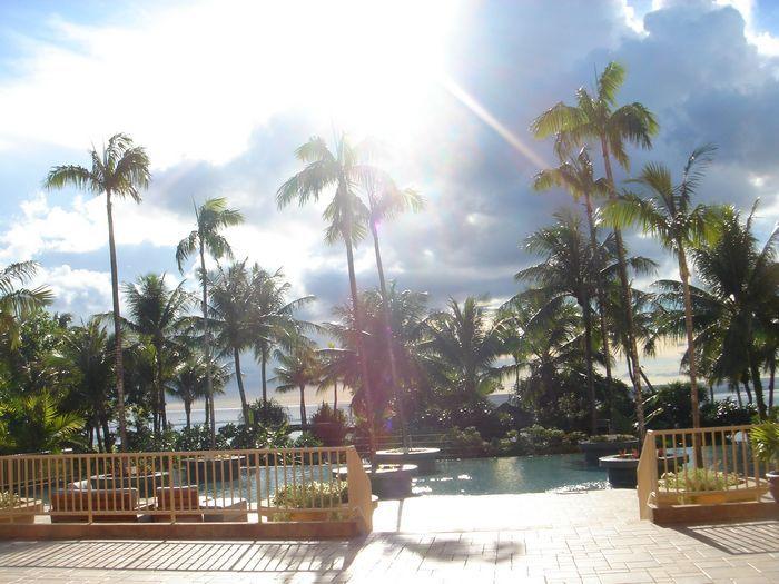 熱帶雨林造景泳池氣氛很棒!