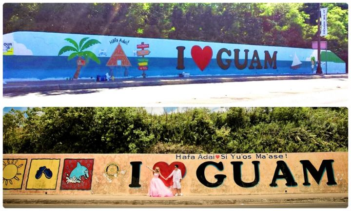 關島I Love Guam 圖騰,下圖:before;上圖:after。(圖騰於2015年10月重新上畫,充滿藍色海洋風)